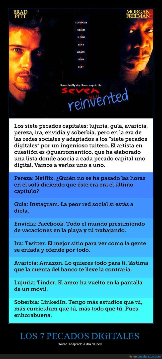 envidia,facebook,gula,instagram,lujuria,netflix,redes sociales,twitter