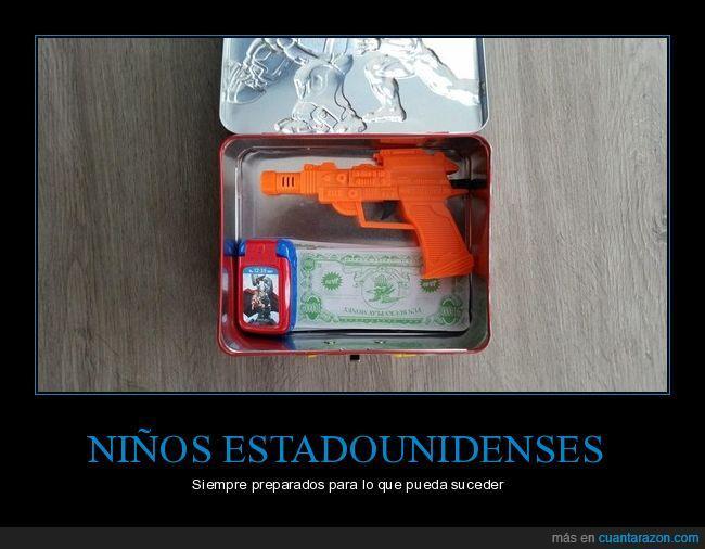 arma,caja,dinero,pistola,sus cosas