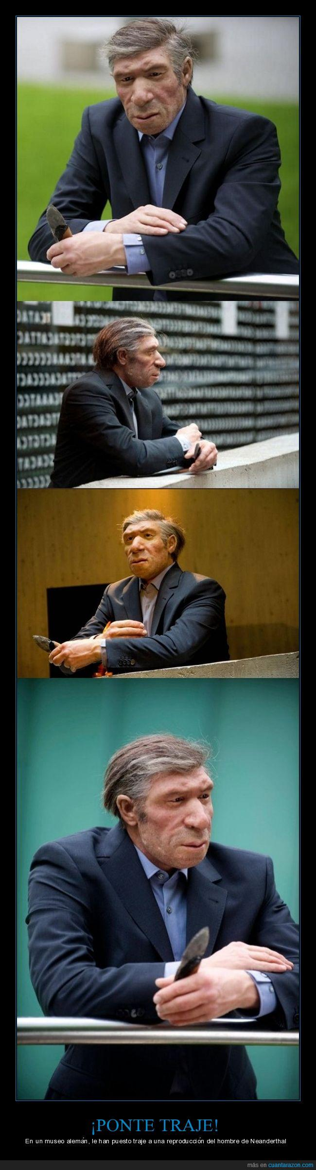 alemania,hombre de neandertal,museo,traje
