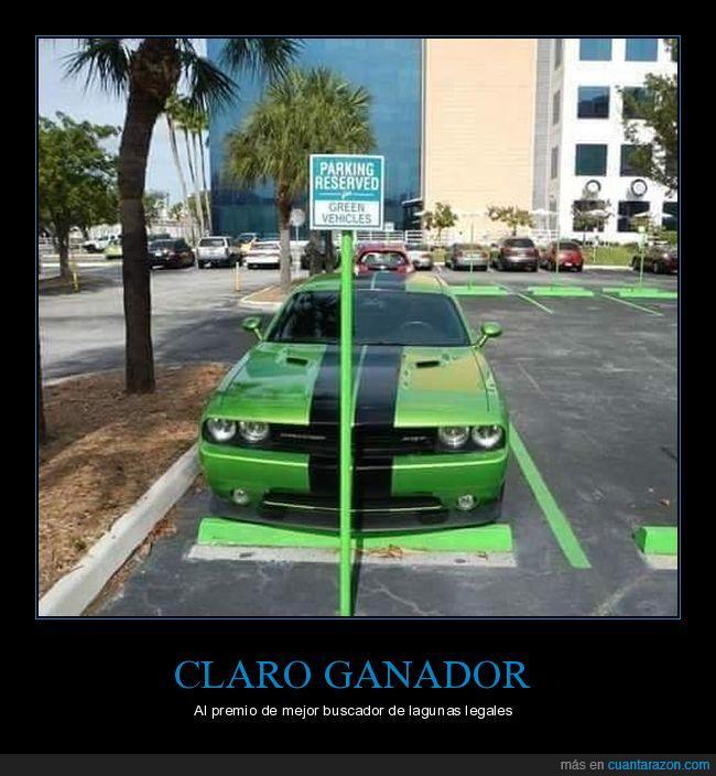 aparcamiento,coche verde,lagunas legales
