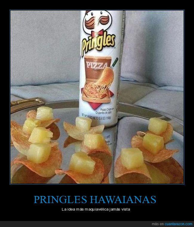 hawaiana,piña,pringles pizza