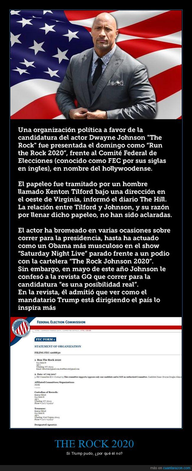 candidatura,dwayne johnson,presidente,the rock,usa