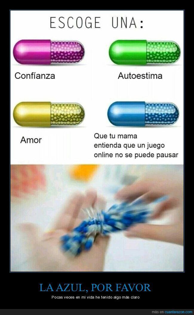 azul,madres,pastillas,pause,videojuegos