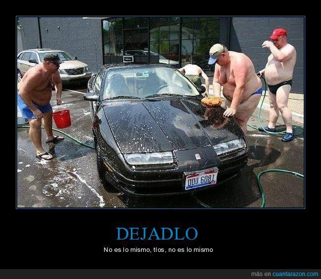 coche,gordos desnudos,lavar