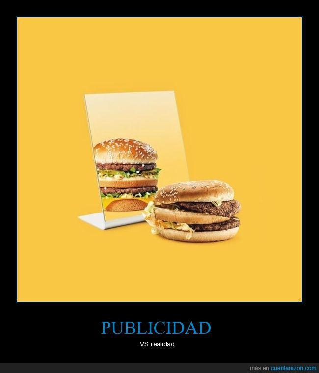 espejo,hamburguesa,realidad