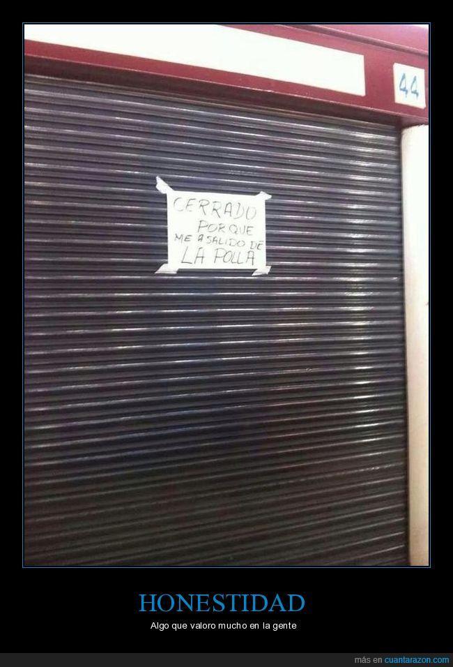 cartel,cerrado,honestidad,puerta