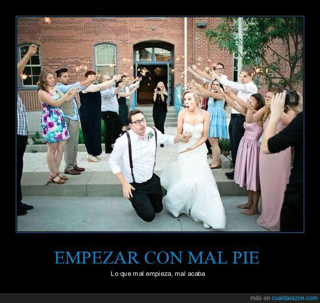 boda,caída,tropezar