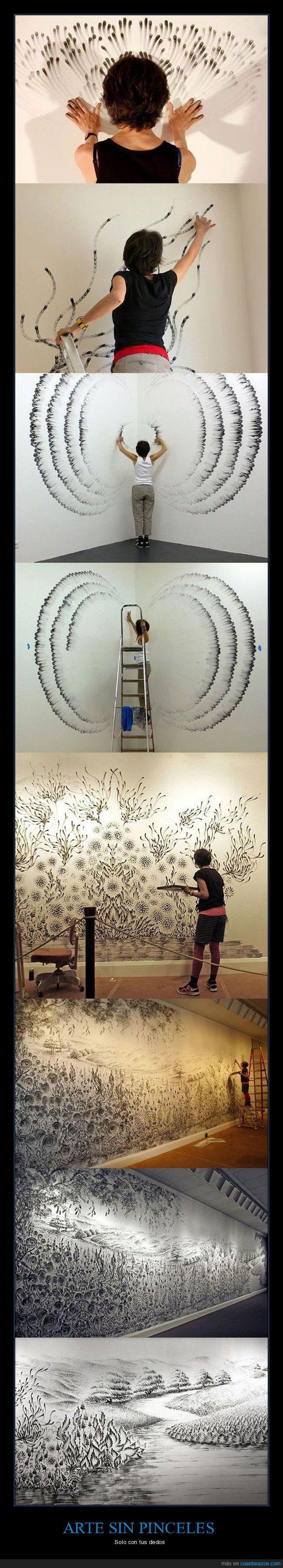 arte,dedos,pared,pintar