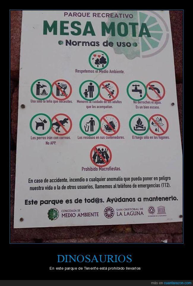 Dinosaurio,norma,parque,Prohibición