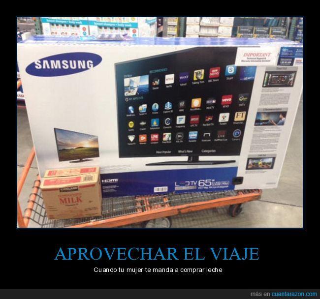 comprar,leche,tv