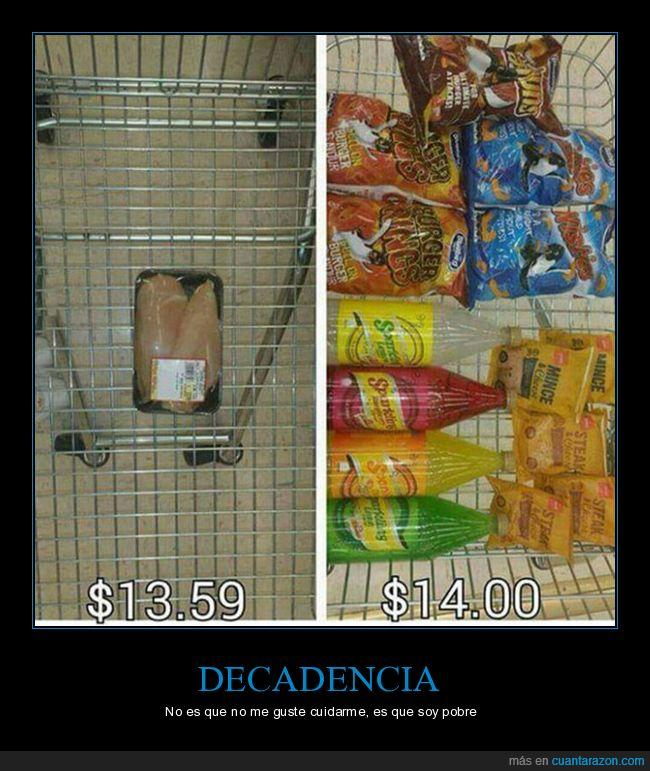 comida basura,dinero,saludable
