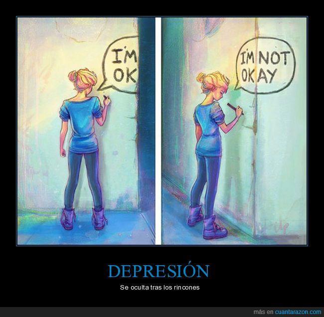 chica,depresión,graffiti,i'm not okay,i'm ok,rincones