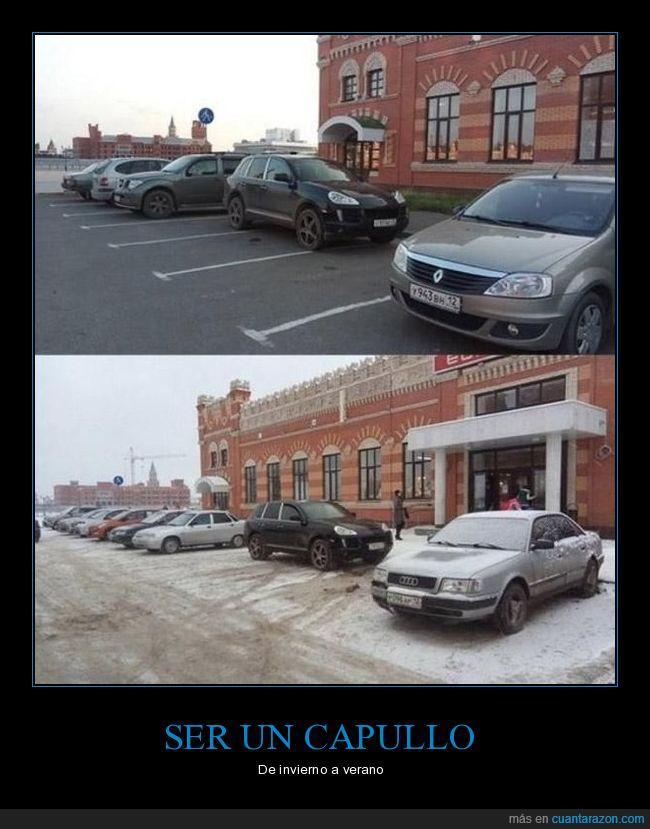 aparcar,coches,nieve,plaza