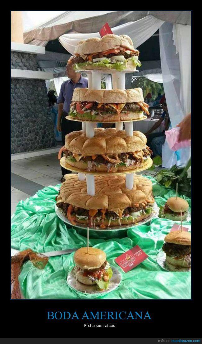 boda,hamburguesas,tarta nupcial