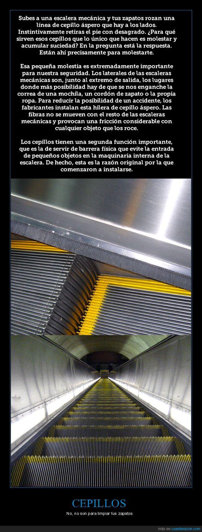 cepillos,escaleras mecánicas,utilidad