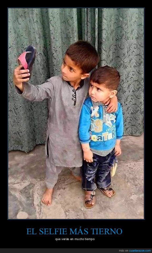 chancla,niños,par,selfie