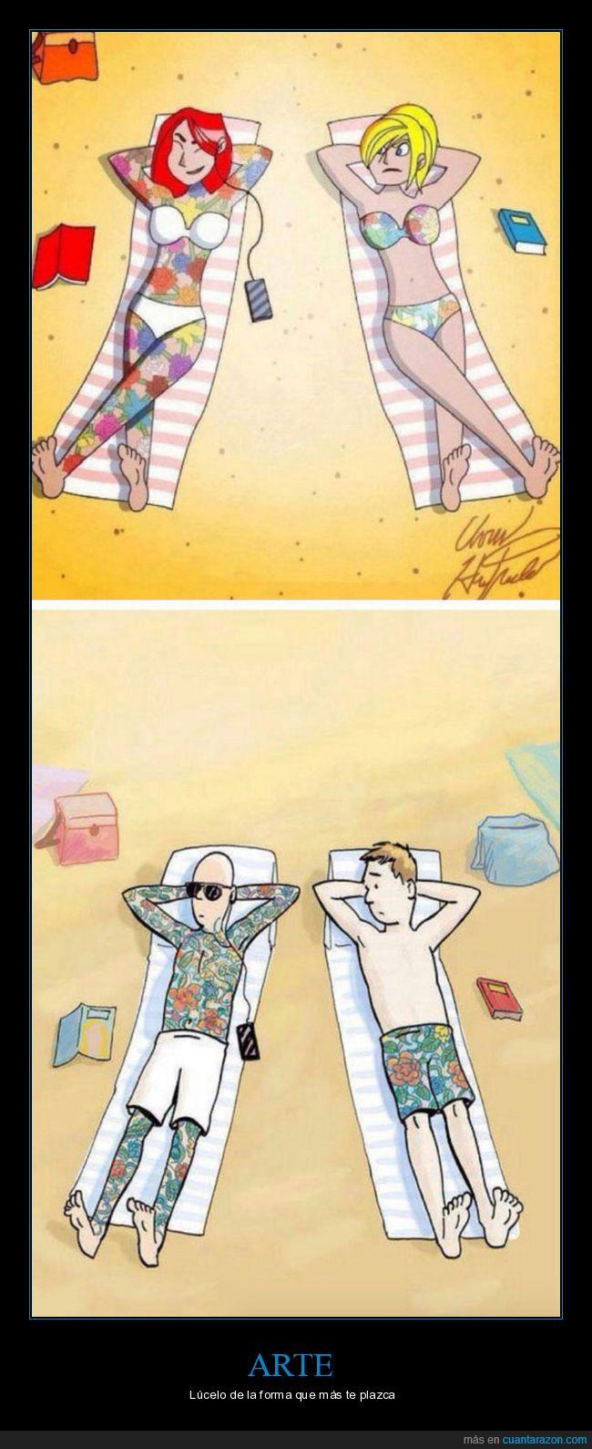 arte,bañador,estampado,playa,tatuaje