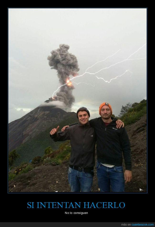 al momento,captura,foto,rayo,volcán
