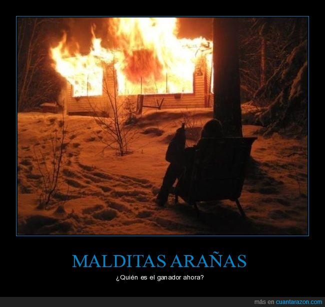 arañas,casa,incendio,quemar