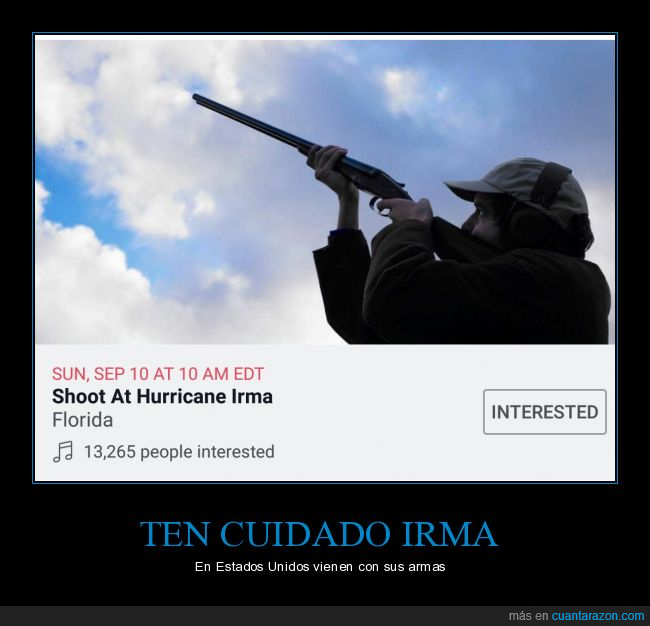 armas,disparar,disparen a huracán Irma,Estados Unidos,Florida,Huracán,Irma