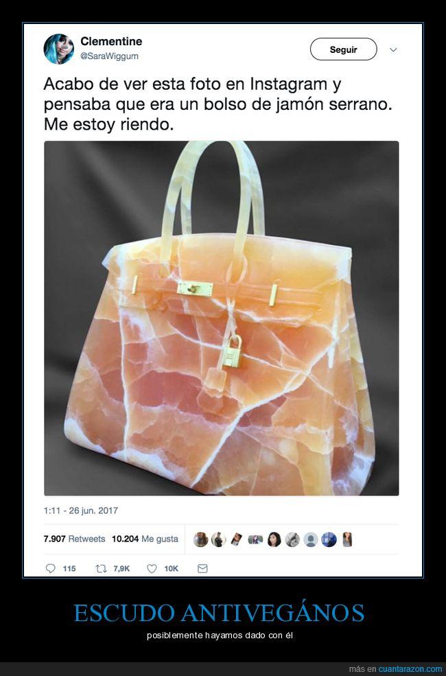bolso,forma,jamón,vegano