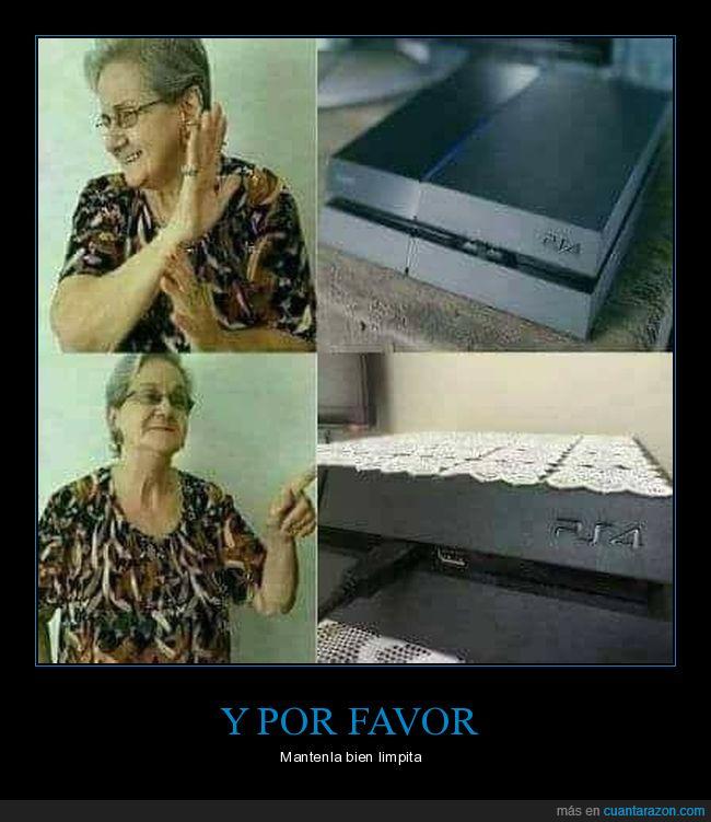 abuela,consola,ps4,tapete,videojuegos