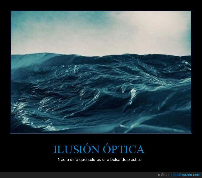 bolsa,ilusión óptica,mar,plástico
