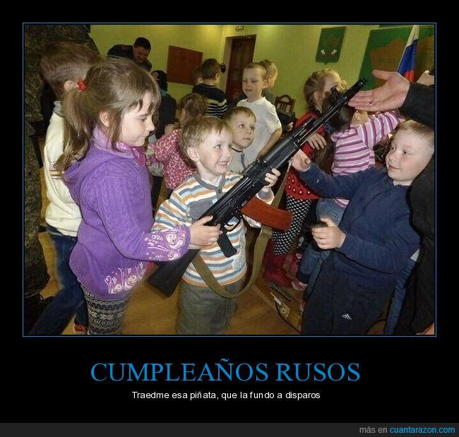 armas,cumpleaños,metralleta,niños,rusos
