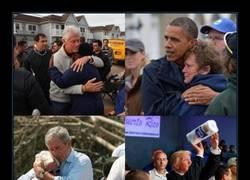 Enlace a Presidentes estadounidenses interactuando con gente que lo ha pasado mal