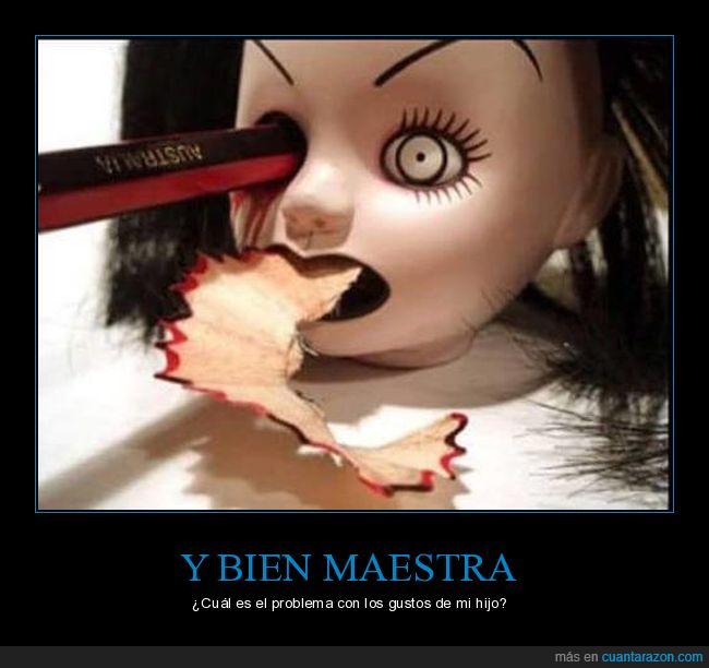 lápiz,monster,muñeca,sacapuntas