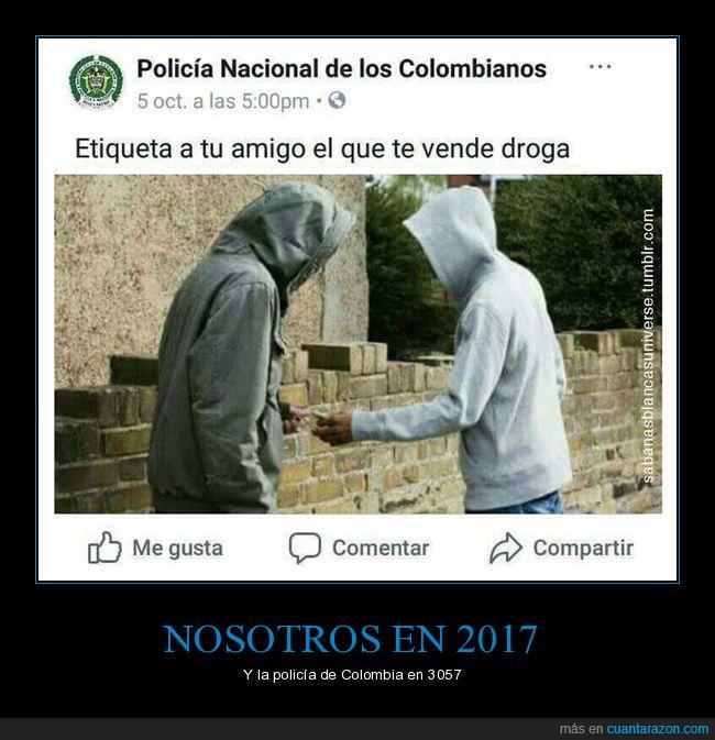 amigo,colombia,droga,etiqueta,policía