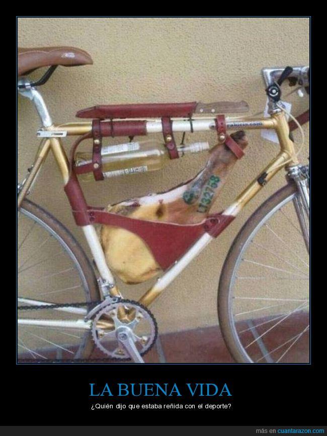 bicicleta,jamón,vino
