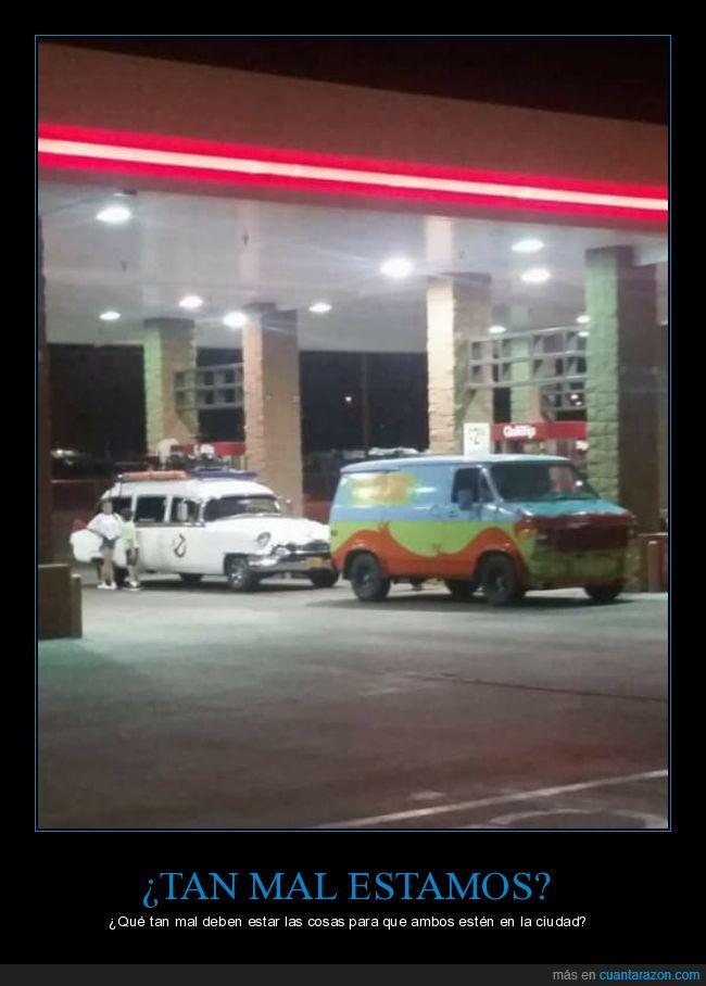 autos,Cazafantasmas,estación de servicio,gasolinera,Misterio a la orden,scooby doo