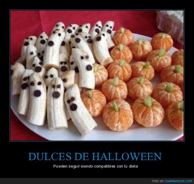 dulces,halloween,mandarinas,plátano