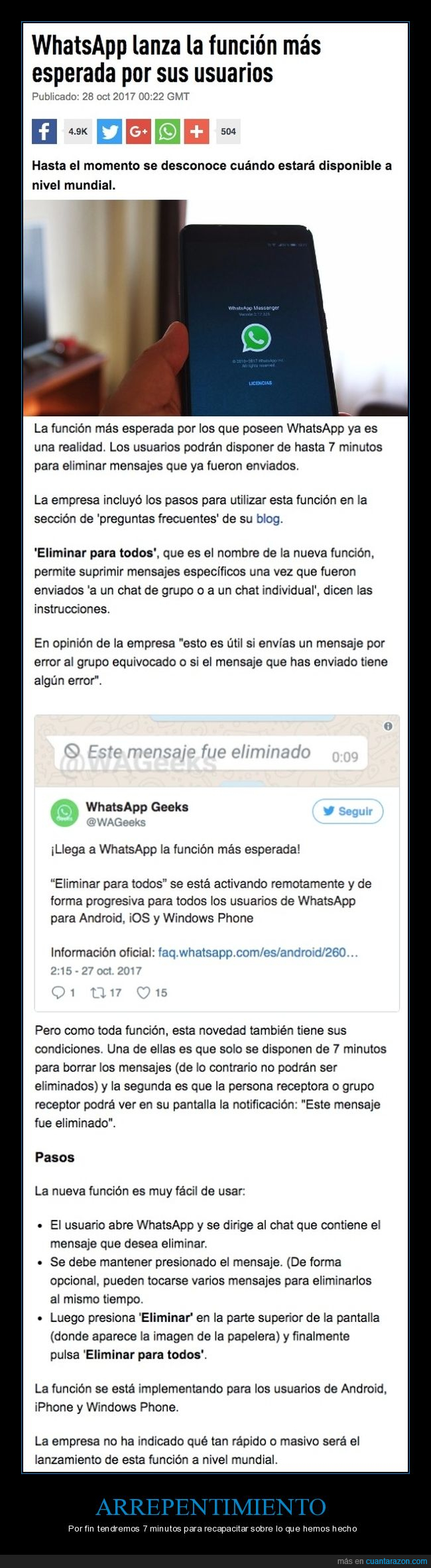 eliminar mensaje,whatsapp
