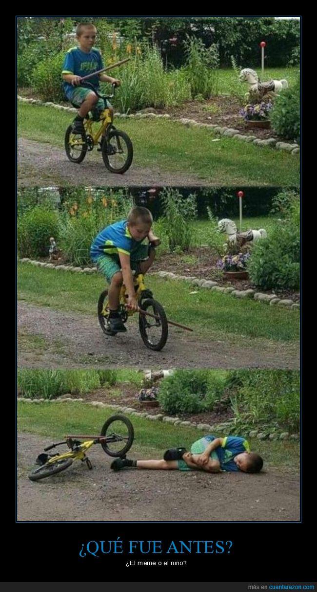 bicicleta,caída,meme,niño