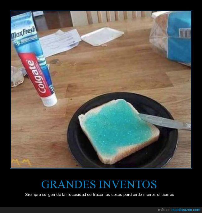 colgate,pasta de dientes,tostada