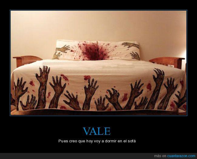 almohada,cama,manos,sangre,zombies