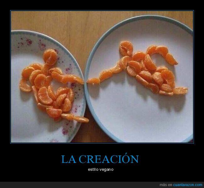 la creación,mandarina,plato dios