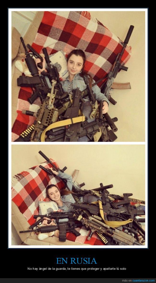 armas,cama,chica,niña