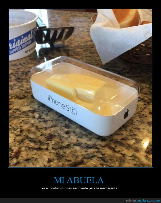 empaque,Iphone,mantequilla