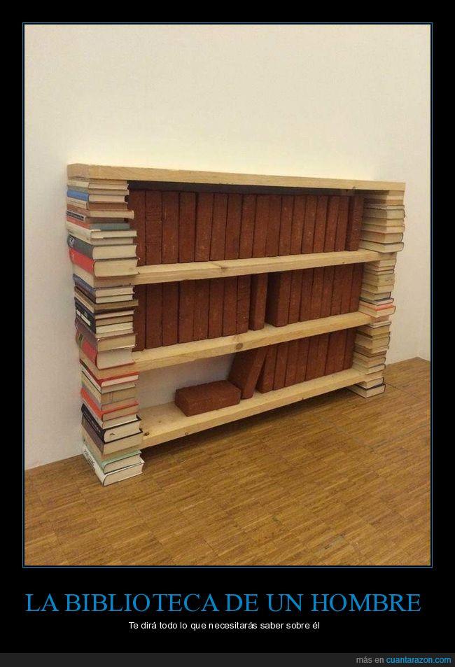 ladrillos,librero,libros