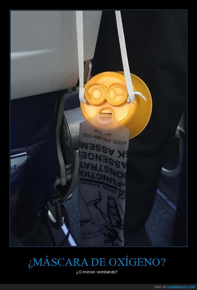 máscara de oxígeno,minion,vomitar