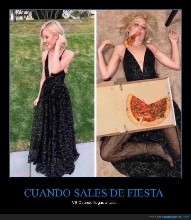 fiesta,llegar,pizza,salir