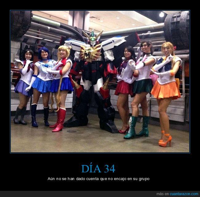 cosplay,friki,gaogaigar,grupo,mujeres,reunion,robot,sailor moon