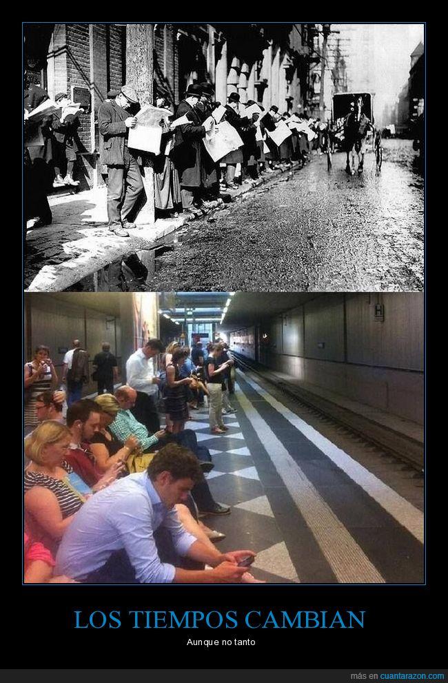 ahora,antes,móviles,periódicos