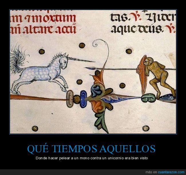 combate,criatura mítica,edad media,mono armado,pintura,unicornio