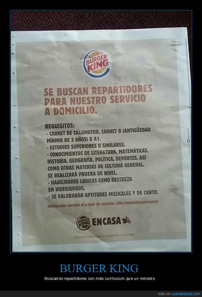 burger king,oferta de empleo,requisitos