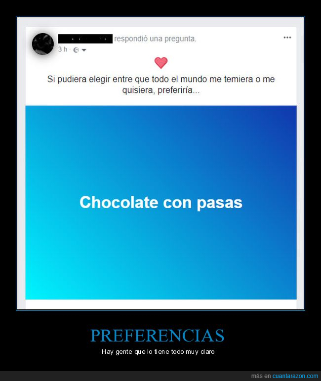 chocolate,facebook,pasas,preferencias