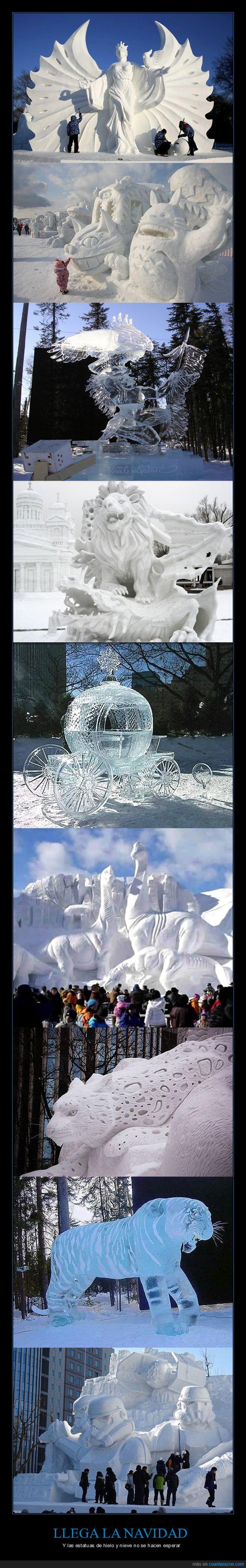 Estatuas,Hielo,Navidad,Nieve